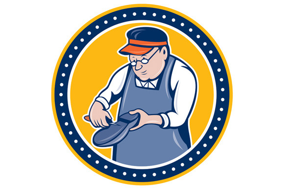 Shoemaker Cobbler Circle Cartoon