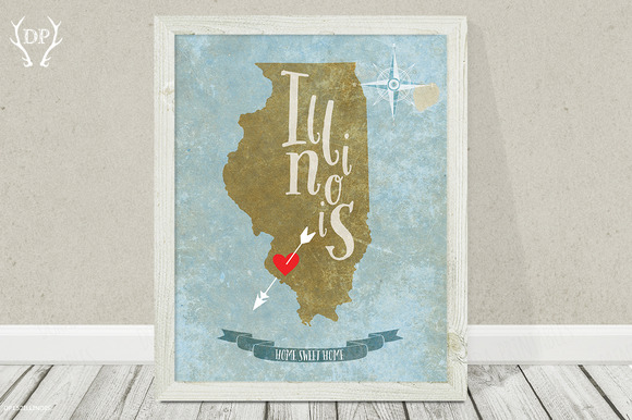 Illinois State Wall Art Printable