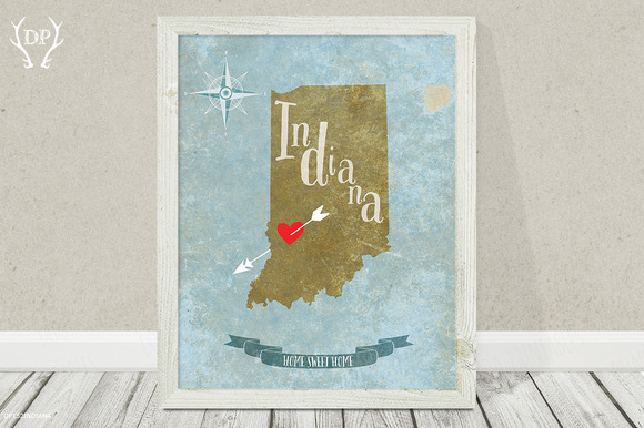 Indiana State Wall Art Printable
