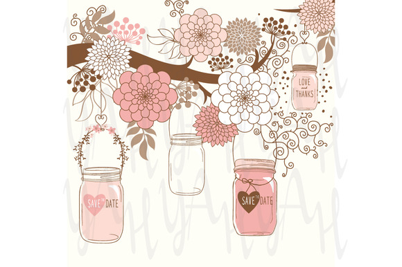 Hand Draw Wedding Floral And Jar