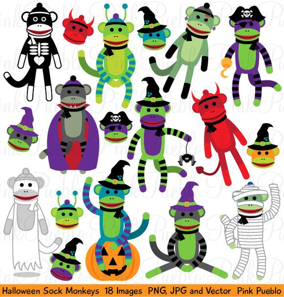 Halloween Sock Monkeys Graphics