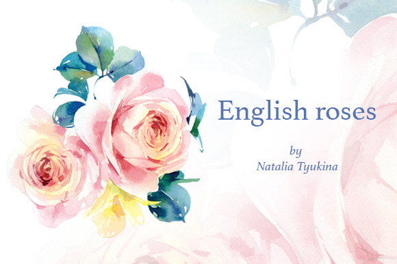 Watercolor English Roses