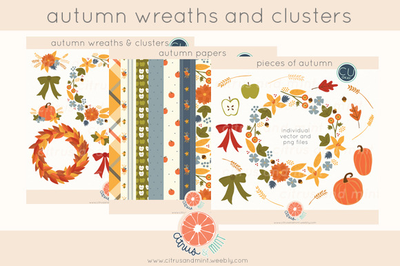 Autumn Clip Art And Papers Bundle