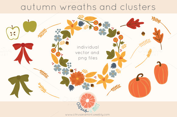 Autumn Flowers And Foliage Clip Art
