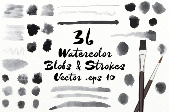 Vector Watercolor Blobs Strokes