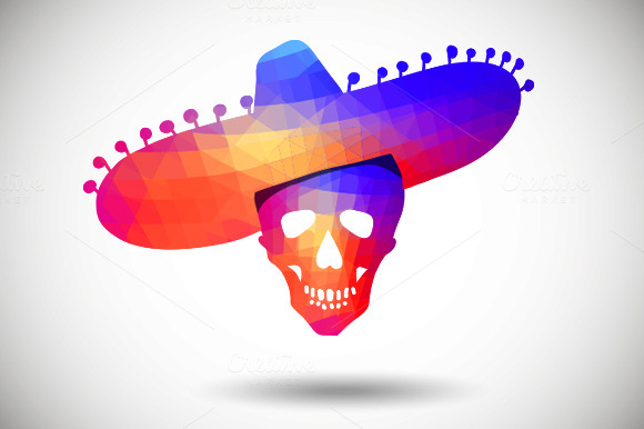 Geometric Skull In Sombrero