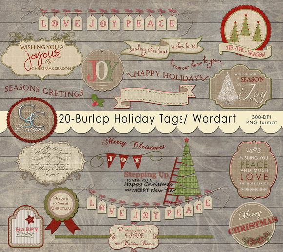 20 Burlap Holiday Tags- Word Art