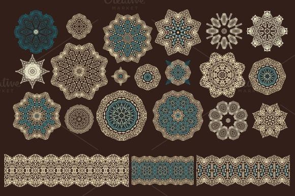 Set Of Decorative Rosettes-snowflake