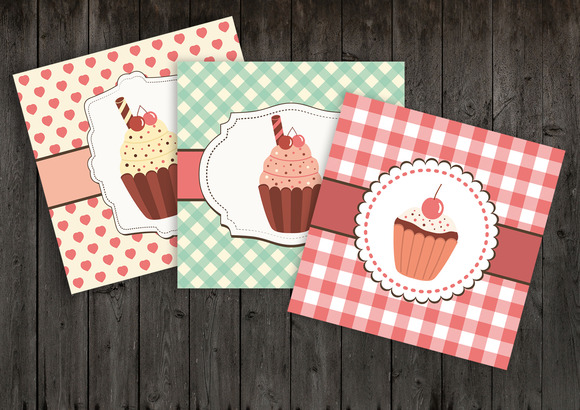 9 Cupcakes Tags Cards