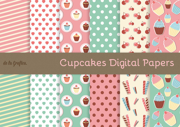 Cupcakes Digital Papers