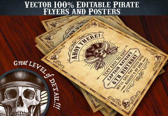 Pirate Flyer Invite Templates