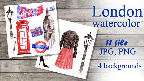 Set Of Watercolor Images Of London