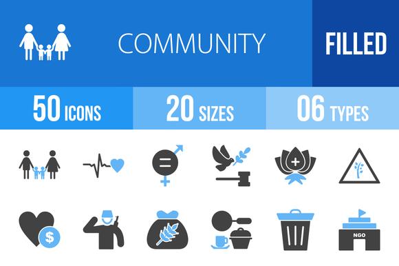 50 Community Blue Black Icons