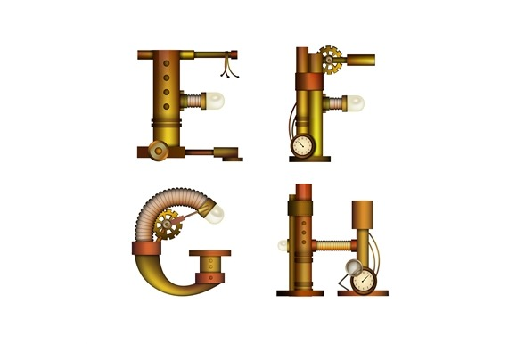 Set Of Steampunk Letters