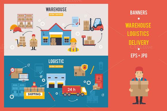Warehouse And Logistics Banners Set