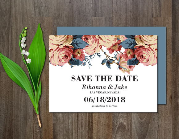 Items wedding invitation save the date psd template for Save the date psd