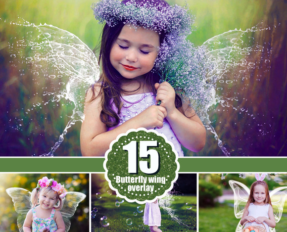 15 Angel Butterfly Wings Overlays