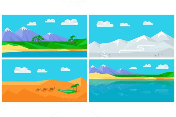 Set Of Natural Landscapes In Flat