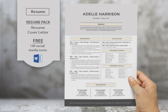 Big Bar Word Resume Cover Letter