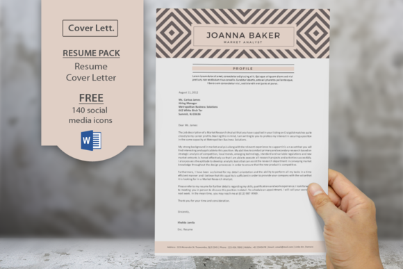 Geometric Pattern Resume Cover