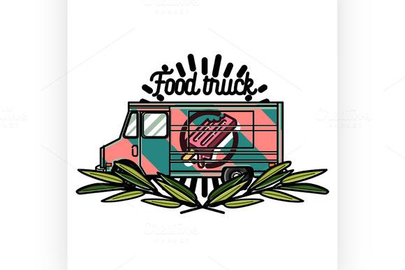 Color Vintage Food Truck Emblem