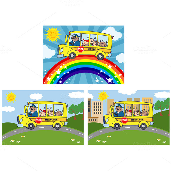 School Bus With Children Collection