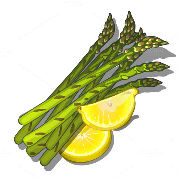 Bunch Of Asparagus And Lemon