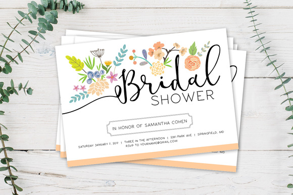 Bridal Shower Invite With Flowers