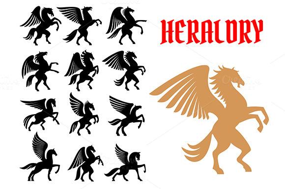 Mythical Pegasus Heraldic Horses