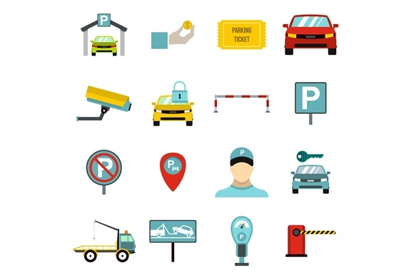 Parking Icons Set Flat Style