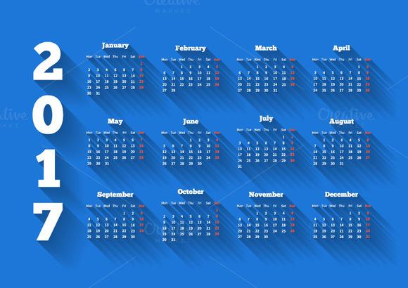 Calendar On 2017 Year On Blue