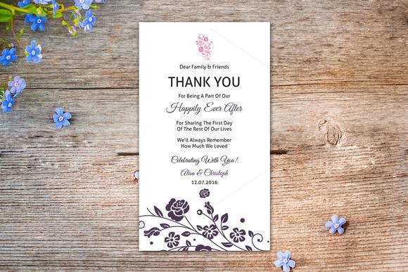 Wedding Thank You Table Card