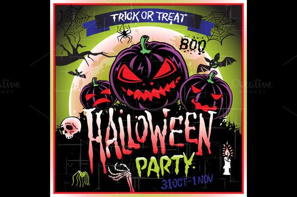 Happy Halloween Pumpkin Party Vector