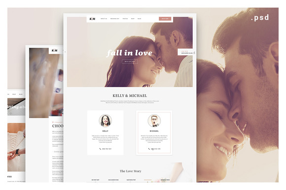 K M Wedding Website PSD Design