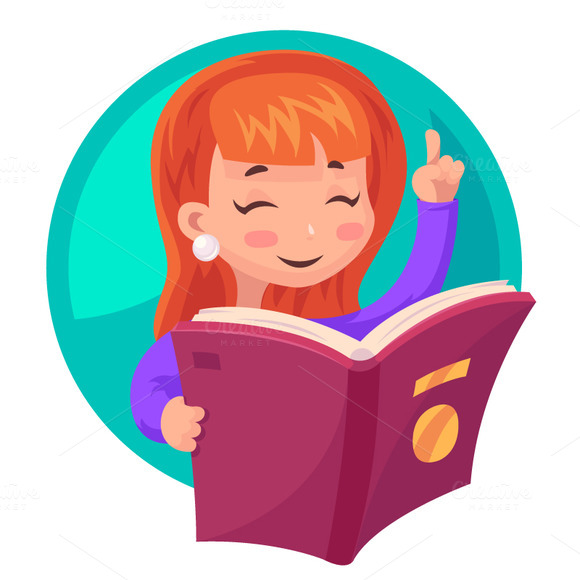 Cartoon Characters Reader : Studying cute girl � designtube creative design content