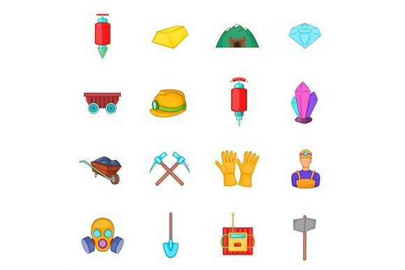 Mining Icons Set Cartoon Style