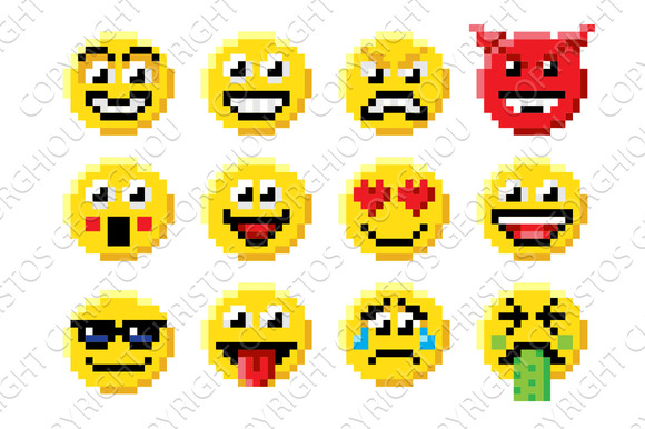 Pixel Art Emoji Emoticon Set