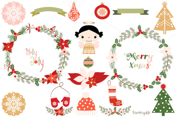 Merry Christmas Wreaths Clipart