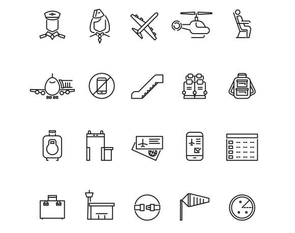 Aviation Outline Vector Icons Set