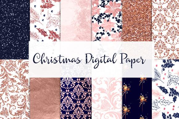 Digital Paper Navy Pink Rose Gold