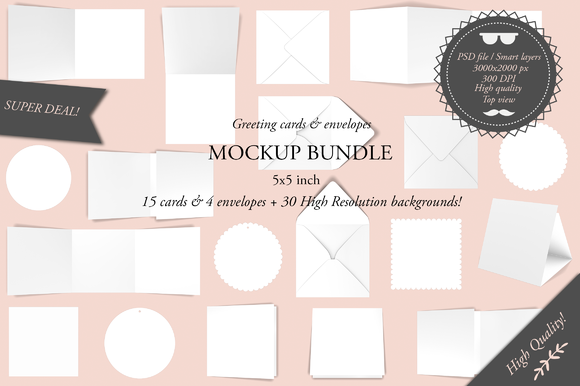 Greeting Cards 5x5 Mockup Bundle