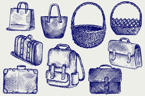 Set Of Bags Suitcases Baskets