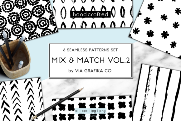 Hand Painted Seamless Patterns Set