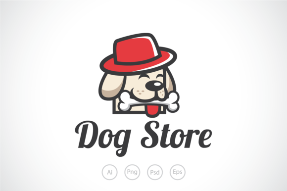 Cute Dog Store Logo Template
