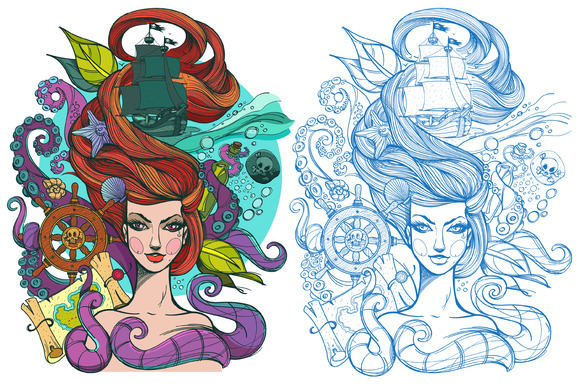 Tattoo Sketch Girl And Sea