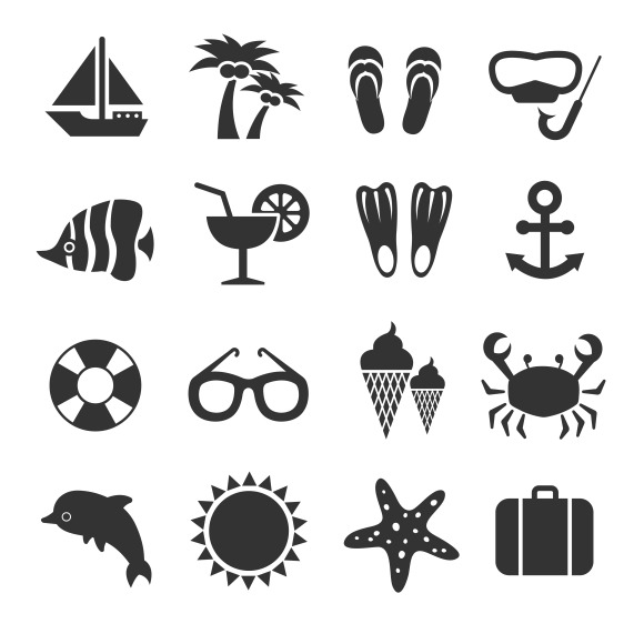 Summer Vacation Sea Beach Icons