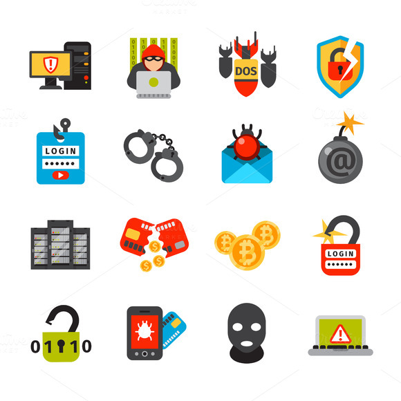 Internet Security Safety Icons Vecto