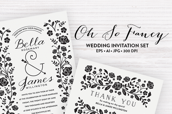 Floral Wedding Templates EPS JPG