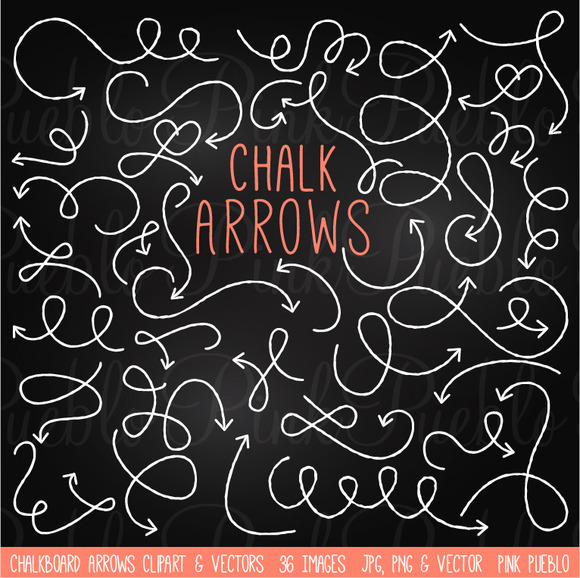 Chalkboard Arrows Clipart Vectors