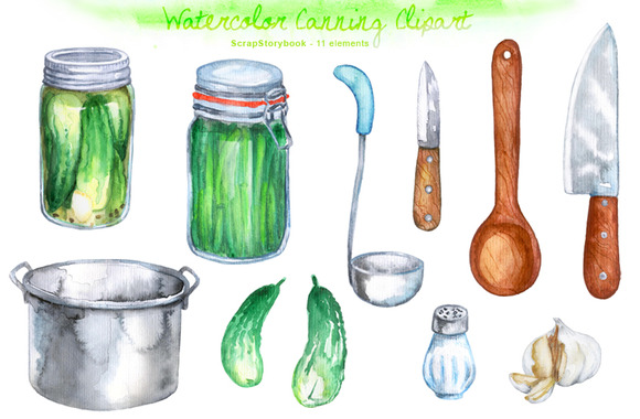 Watercolor Canning Clipart